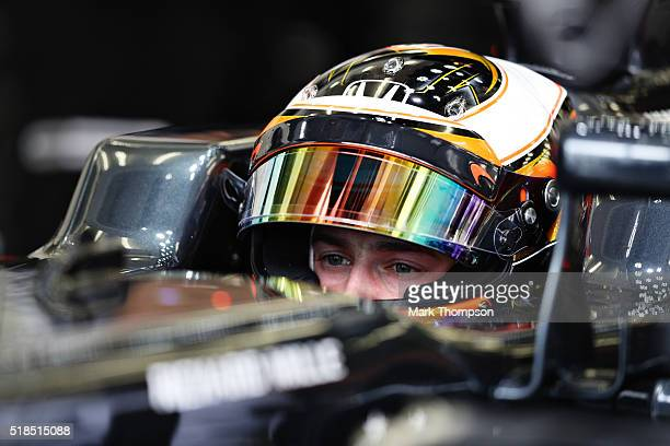 Stoffel Vandoorne of Belgium and McLaren Honda gets ready in the garage during practice for the Bahrain Formula One Grand Prix at Bahrain...