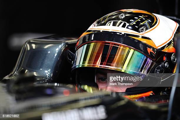 Stoffel Vandoorne of Belgium and McLaren Honda in the garage during practice for the Bahrain Formula One Grand Prix at Bahrain International Circuit...