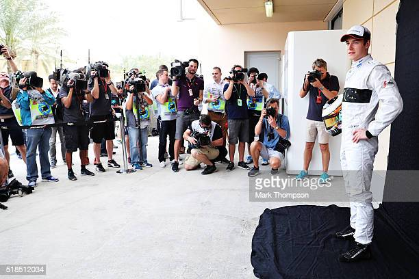 Stoffel Vandoorne of Belgium and McLaren Honda poses for photos ahead of practice for the Bahrain Formula One Grand Prix at Bahrain International...