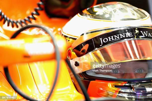 Stoffel Vandoorne of Belgium and McLaren Honda prepares to drive during final practice for the Formula One Grand Prix of Singapore at Marina Bay...