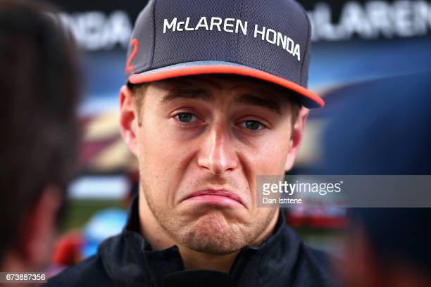 Stoffel Vandoorne of Belgium and McLaren Honda talks to the media in the Paddock during previews to the Formula One Grand Prix of Russia on April 27...