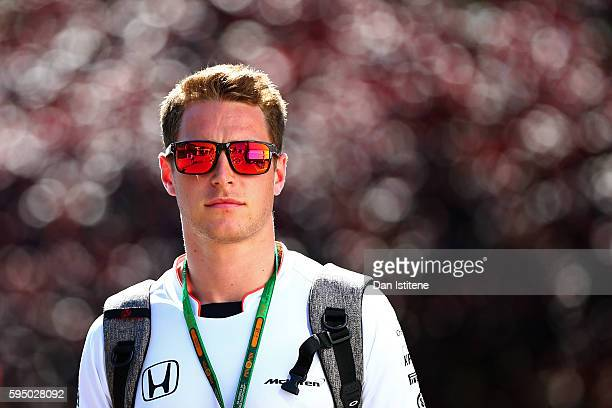 Stoffel Vandoorne of Belgium and McLaren Honda walks in the paddock during previews ahead of the Formula One Grand Prix of Belgium at Circuit de...