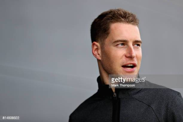 Stoffel Vandoorne of Belgium and McLaren Honda walks in the Paddock during practice for the Formula One Grand Prix of Great Britain at Silverstone on...