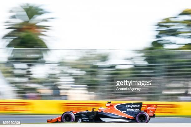 Stoffel Vandoorne of Belgium driving for McLaren Honda races during the 2017 Rolex Australian Formula 1 Grand Prix at Albert Park circuit in...