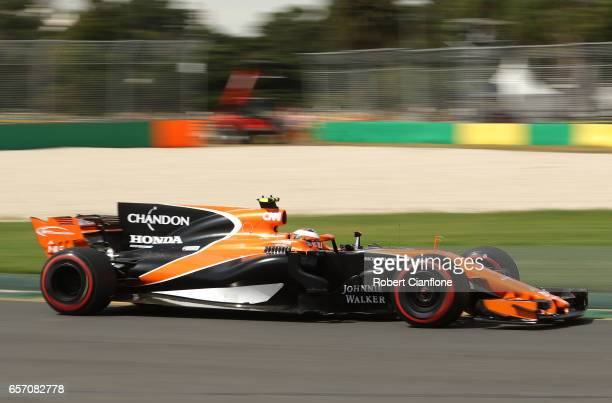 Stoffel Vandoorne of Belgium driving the McLaren Honda Formula 1 Team McLaren MCL32 on track during practice for the Australian Formula One Grand...