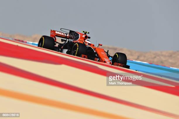 Stoffel Vandoorne of Belgium driving the McLaren Honda Formula 1 Team McLaren MCL32 on track during practice for the Bahrain Formula One Grand Prix...