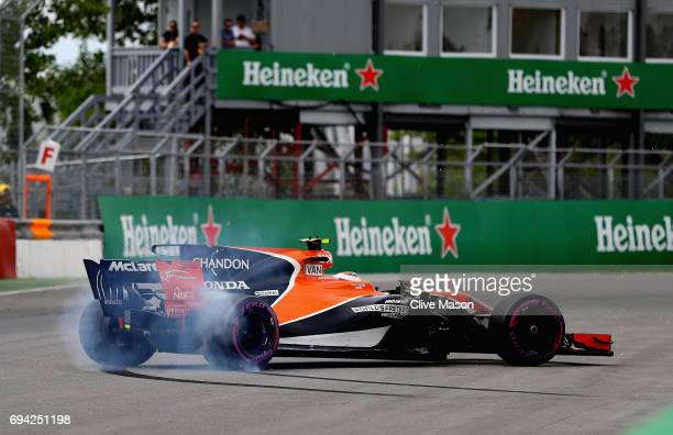 Stoffel Vandoorne of Belgium driving the McLaren Honda Formula 1 Team McLaren MCL32 spins on track during practice for the Canadian Formula One Grand...
