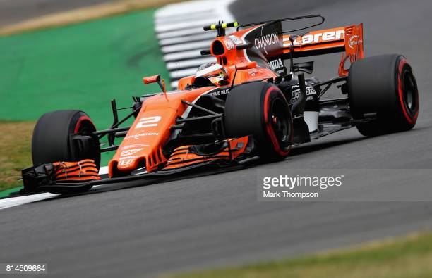 Stoffel Vandoorne of Belgium driving the McLaren Honda Formula 1 Team McLaren MCL32 on track during practice for the Formula One Grand Prix of Great...