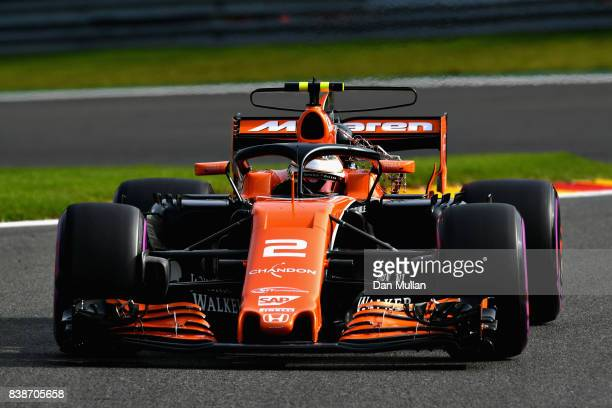 Stoffel Vandoorne of Belgium driving the McLaren Honda Formula 1 Team McLaren MCL32 fitted with the halo on track during practice for the Formula One...