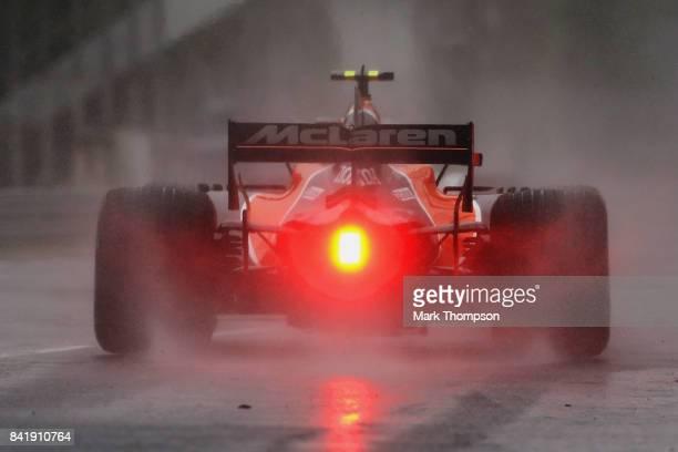 Stoffel Vandoorne of Belgium driving the McLaren Honda Formula 1 Team McLaren MCL32 leaves the pitlane during qualifying for the Formula One Grand...
