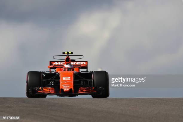 Stoffel Vandoorne of Belgium driving the McLaren Honda Formula 1 Team McLaren MCL32 on track during final practice for the United States Formula One...