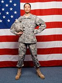 Stoic soldier by American flag