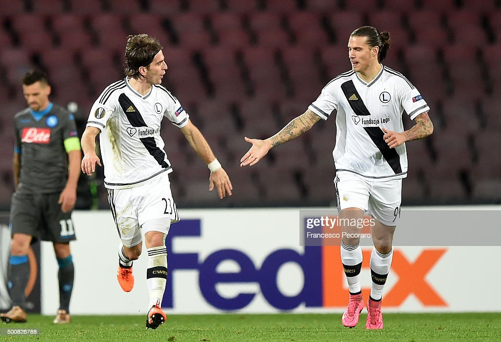 Stojan Vranjes and Aleksandar Prijovic of Legia Warszawa celebrate a goal 31 scored by Aleksandar Prijovic during the UEFA Europa League Group D...