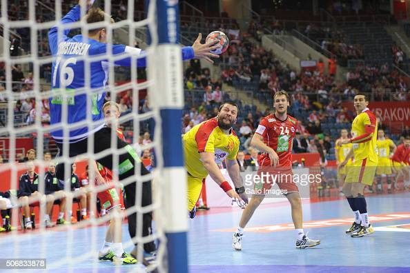 Stojanche Stoilov of FYR Macedonia during the 1 group match of the EHF European Men's Handball Championship between Fyr Macedonia and Norway at...