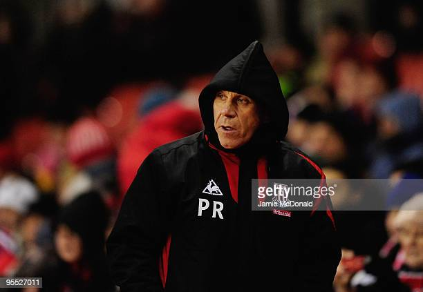 Stoke City assistant manager Peter Reid looks on during the FA Cup sponsored by EON 3rd Round match between Stoke City and York City at the Britannia...