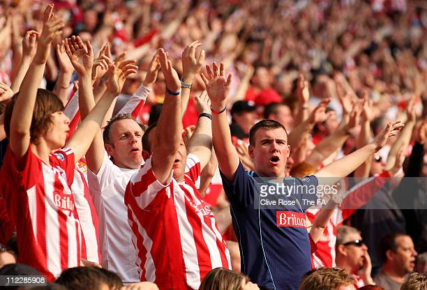 Stoke City fans during the FA Cup sponsored by EON semi final match between Bolton Wanderers and Stoke City at Wembley Stadium on April 17 2011 in...