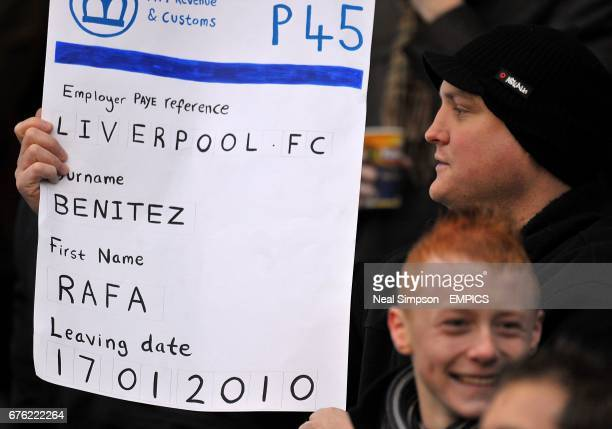 Stoke City fans mock Liverpool manager Rafael Benitez by holding up a poster in the stands at the Britannia Stadium