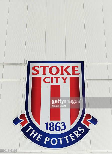 Stoke City FC logo outside Britannia Stadium home of Stoke City on March 1 2011 in StokeonTrent England