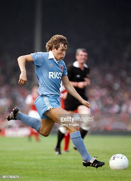 Stoke City forward Adrian Heath in action during a First Division match between Arsenal and Stoke City at Highbury on August 29 1981 in London England