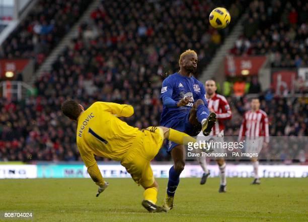 Stoke City goalkeeper Asmir Begovic fouls Everton's Louis Saha