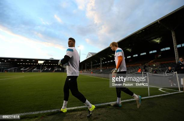 Stoke City goalkeeper Daniel Bachmann and Jakob Haugaard warming up before the game