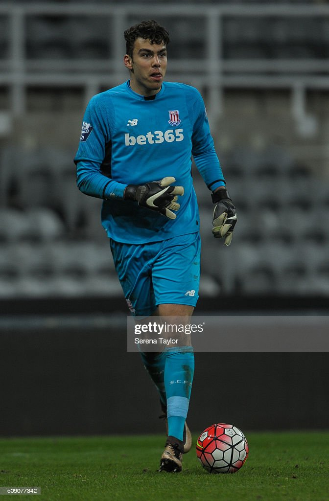 Stoke City Goalkeeper Daniel Gyollai runs with the ball during the Barclays Premier League U21 match between Newcastle United and Stoke City at St.James' Park on February 8, 2016, in Newcastle upon Tyne, England.