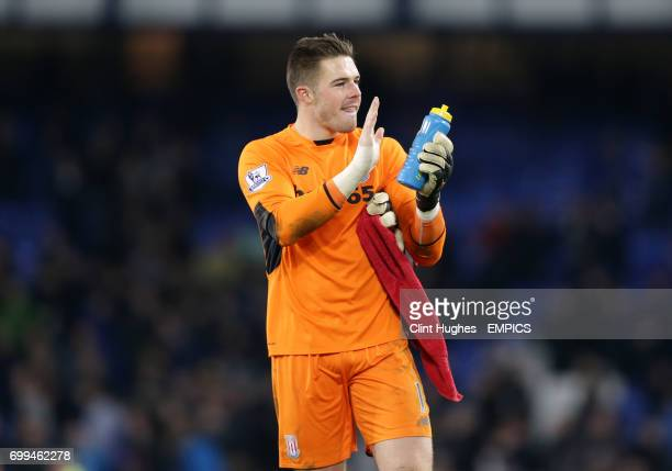 Stoke City goalkeeper Jack Butland acknowledges the travelling support