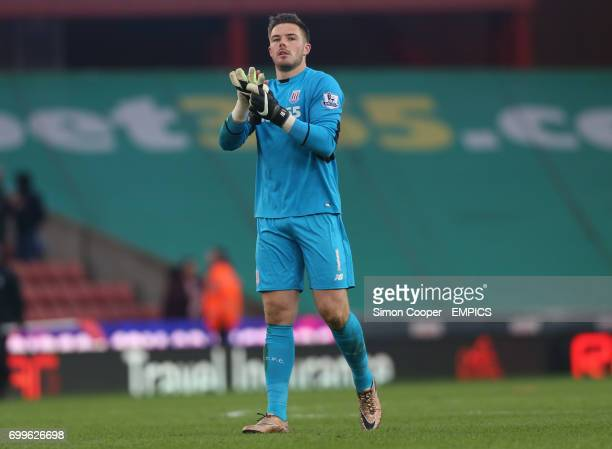 Stoke City goalkeeper Jack Butland applauds the fans after the final whistle