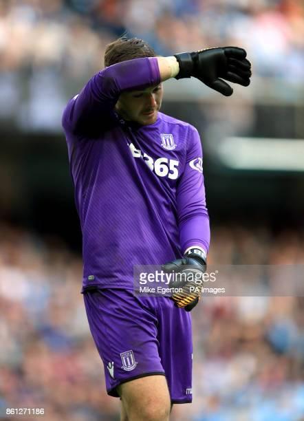 Stoke City goalkeeper Jack Butland during the Premier League match at Etihad Stadium Manchester