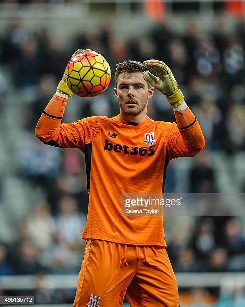 Stoke City Goalkeeper Jack Butland holds his hands in the air preparing to catch the ball during the Barclays Premier League match between Newcastle...