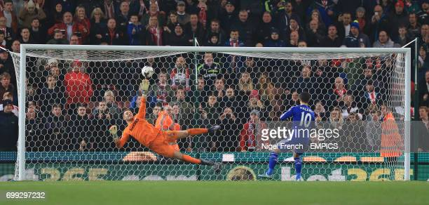 Stoke City goalkeeper Jack Butland saves in the penalty shoot out from Chelsea's Eden Hazard