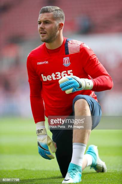 Stoke City goalkeeper Jack Butland warms up prior to match