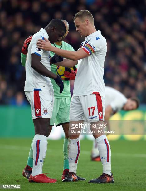 Stoke City goalkeeper Lee Grant and Ryan Shawcross check on team mate Kurt Zouma after a clash in the box during the Premier League match at the...