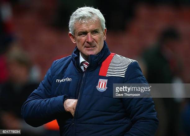 Stoke City manager Mark Hughes during the Premier League match between Stoke City and AFC Bournemouth at Bet365 Stadium on November 19 2016 in Stoke...
