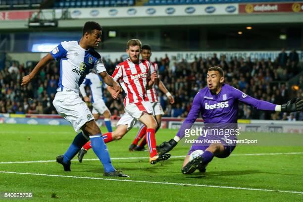 Stoke City U23s' goalkeeper Daniel Gyollai saves at close range from Blackburn Rovers' Joe Nuttall during the match EFL Checkatrade Trophy Northern...