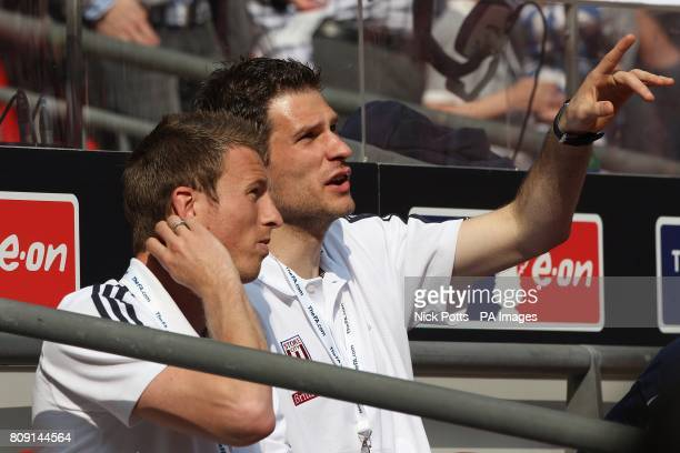 Stoke City's Asmir Begovic and Danny Collins in the stands