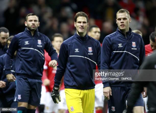 Stoke City's Asmir Begovic and Stoke City's Ryan Shawcross