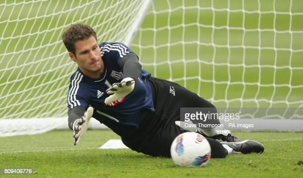 Stoke City's Asmir Begovic during a training session at the Clayton Wood Training Ground Stoke On Trent