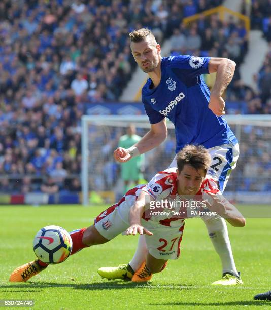 Stoke City's Bojan Krkic and Everton's Morgan Schneiderlin in action during the Premier League match at Goodison Park Liverpool