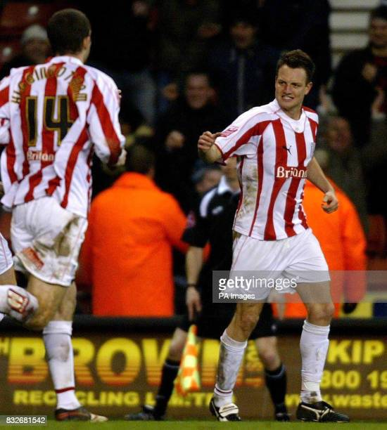 Stoke City's Clint Hill celebrates scoring against Wolverhampton during the CocaCola Championship match at the Britannia Stadium Stoke