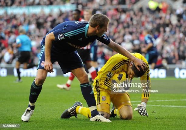 Stoke City's Danny Collins congratulates goalkeeper Asmir Begovic on his penalty save