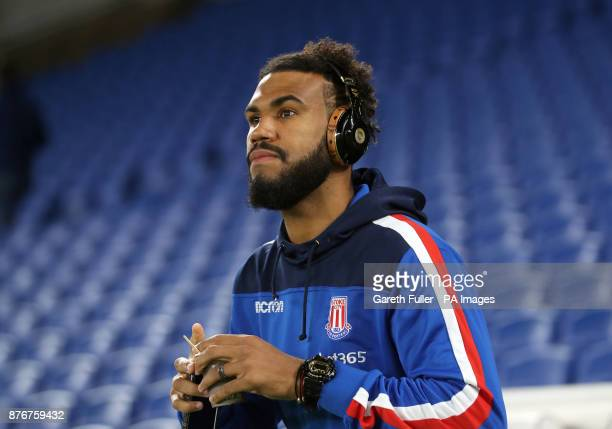 Stoke City's Eric Maxim ChoupoMoting arrives for the Premier League match at the AMEX Stadium Brighton