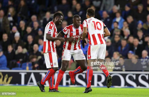 Stoke City's Eric Maxim ChoupoMoting celebrates scoring his side's first goal of the game with Kurt Zouma and Mame Diouf during the Premier League...