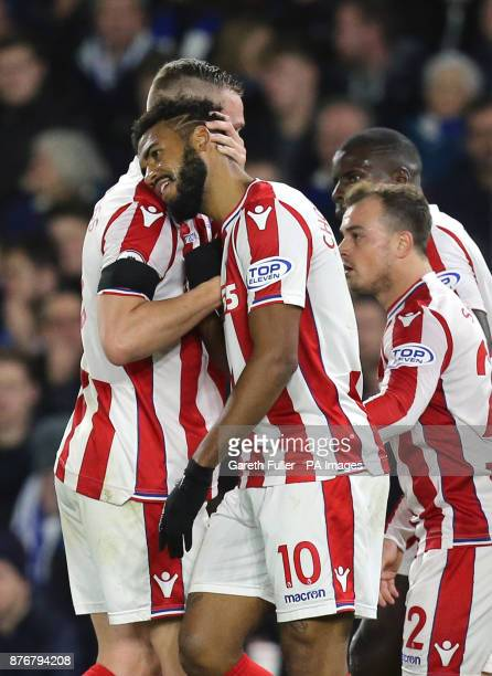 Stoke City's Eric Maxim ChoupoMoting celebrates scoring his side's first goal of the game during the Premier League match at the AMEX Stadium Brighton