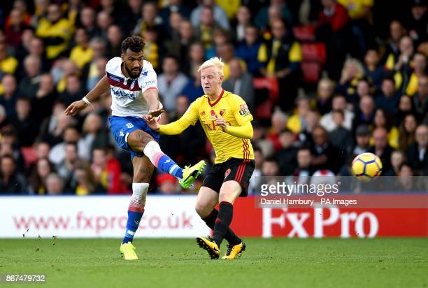 Stoke City's Eric Maxim ChoupoMoting has a shot on goal during the Premier League match at Vicarage Road Watford