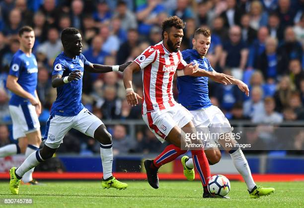 Stoke City's Eric Maxim ChoupoMoting in action with Everton's Idrissa Gueye and Morgan Schneiderlin during the Premier League match at Goodison Park...