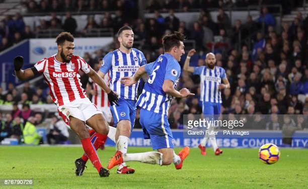 Stoke City's Eric Maxim ChoupoMoting scores his side's first goal of the game during the Premier League match at the AMEX Stadium Brighton