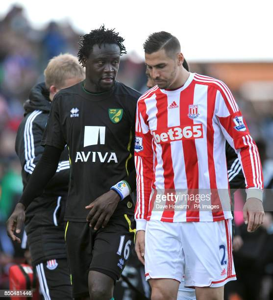 Stoke City's Geoff Cameron and Norwich City's Kei Kamara during the match