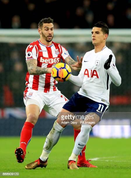 Stoke City's Geoff Cameron and Tottenham Hotspur's Erik Lamela battle for the ball during the Premier League match at Wembley Stadium London