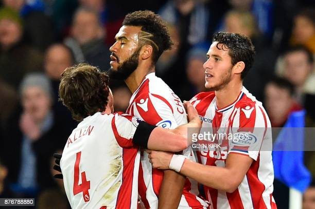 Stoke City's German midfielder Eric Maxim ChoupoMoting celebrates scoring the opening goal during the English Premier League football match between...